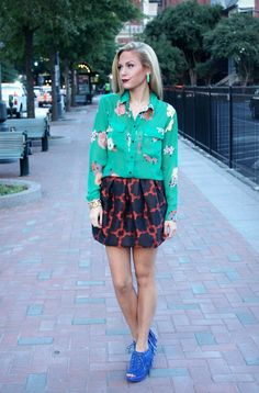 B SOUP: The Floral Blouse: 5 ways, blue suede shoes, fall style, street style, fall stet style, mixed prints
