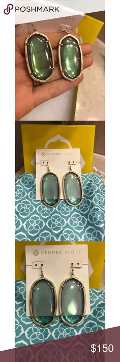 """HTF!! Kendra Scott """"Danielle"""" in Mystic Iridescent Kendra Scott """"Danielle"""" earrings in Mystic Iridescent set in gold. These are rare and hard to find!! In excellent condition! No wear or imperfections on the stones. From a smoke-free home as well. No trades! Firm price!! Bundle for a discount! Kendra Scott Jewelry Earrings"""