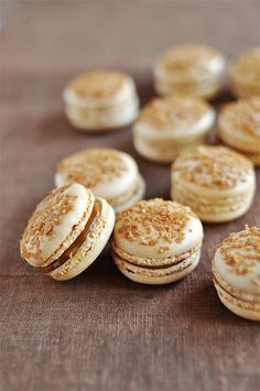 Brown sugar macarons filled with cajeta (Mexican goat's milk caramel)