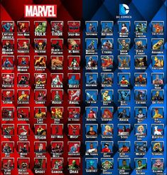 Made a Marvel/DC Heroes list for my son to reference you're not my kid You dont know me It should be noted that I chose and organized characters based on his knowledge and interest. Marvel Superheroes Names, Marvel Heroes List, Heroes Dc Comics, Bd Comics, Marvel Dc Comics, Marvel Avengers, Avengers Poster, Poster Marvel, Marvel Films
