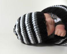 Knit Beanie Hat Newborn Size in Black, Gray, & White Stripes.  USD $12  www.HeavenBoundHCA.com