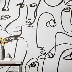 West Elm Drop It Modern Femme Removable Wallpaper Mirrored Wallpaper, Tile Wallpaper, Designer Wallpaper, Modern Wallpaper Designs, Wallpaper Panels, Wallpaper For Walls, Bathroom Wallpaper Modern, Kitchen Wallpaper, Bedroom Wallpaper