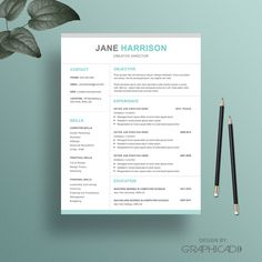 resume template cv template and cover letter 2 pages by graphicadi etsy resume templates etsy cv templates pinterest cv template and etsy - Iwork Pages Resume Templates