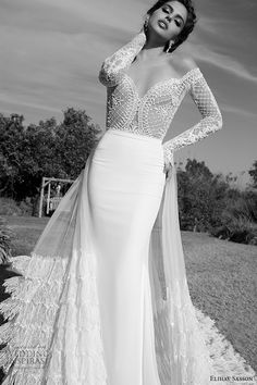 elihav sasson wedding dress 2015 lace long sleeves ultra low cut back sheath bridal gown with tulle train front