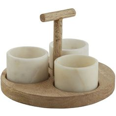 Hudson Marble Condiment Set (1,985 INR) ❤ liked on Polyvore featuring home, kitchen & dining, serveware, condiment set and condiment holder
