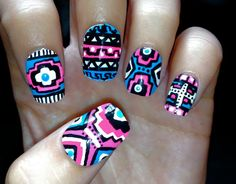 Blue and Pink Neon Aztec/Tribal Nails