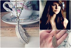 The Vampire Diaries Jewelry - Elena Gilbert Inspired Necklace Golden feather tibetan silver golden - stainless steel chain - season 4 ep. 23 on Etsy, $13.94