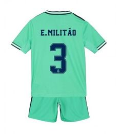 Real Madrid Eder Militao #3 Tercera Equipación Niños 2019/20 Manga Corta (+ Pantalones cortos) Equipacion Real Madrid, Real Madrid Shirt, Real Madrid Football, James Rodriguez, Zinedine Zidane, Football Socks, Football Shirts, College Football, Isco