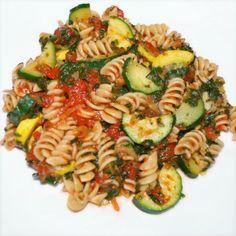 pasta with zucchini, yellow squash, & spinach. #vegan #recipe