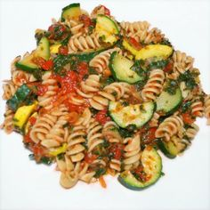 pasta with zucchini, yellow squash, and spinach