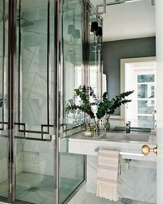 LOVE ART DECO METAL GRILL ON GLASS INSTANT EARLY 30S LOOK  #bathroom