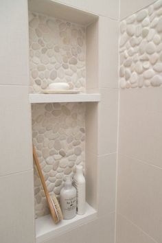 Master bathroom remodel; shower; shampoo niche; pebble tile| Interior Designer: Carla Aston / Photographer: Tori Aston