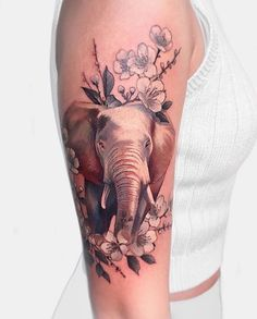 Elephant and floral piece by Janice. Done at Chronic Ink Tattoo - Toronto, Canada