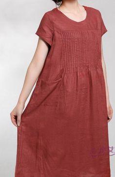 Red Skirt women dress  Long skirt Linen Dress. $60.00, via Etsy.