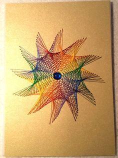 Fadengrafik-Doppelkarte Regenbogen Blume Gay 04 von Rene´s Fadengrafiken auf DaWanda.com