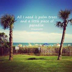 All I need is palm trees and a little piece of paradise. #quote