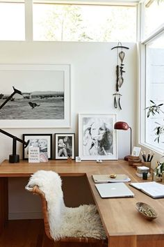 Inside stylist Jessica De Ruiter's dreamy Silver Lake, California sanctuary : The office with a desk, made by Jed, faces out to the pool. Old photos show de Ruiter's mother in her modelling days and de Ruiter as a child.