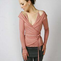 wool ballerina wrap sweater with foldover collar by sandmaiden