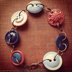 Rose and Peacock - Vintage Button Bracelet - Vintage Button Jewelry - Pink Teal Copper - Button Jewellery.  via Etsy.