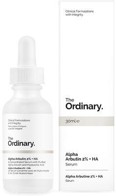 Alpha Arbutin 2% + HA - A Concentrated Serum with Purified Alpha Arbutin and Hyaluronic Acid Alpha Arbutin reduces the looks of spots and hyper-pigmentation. It's used at a high 2% concentration versus a standard concentration of 1% and supported with a next-generation form of Hyaluronic Acid for enhanced delivery. Alpha Arbutin is much stronger in effect than Arbutin or Beta Arbutin.
