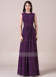 A-Line/Princess Scoop Neck Floor-Length Chiffon Bridesmaid Dress With Ruffle Lace (007054330) - JJsHouse