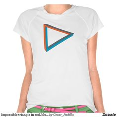 Impossible triangle in red, blue and gray. t shirt. #Geek #Nerd #GeekChick