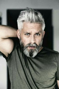 Model swedish grey hair silverfox mens style beard grooming silver male men's . - Model swedish grey hair silverfox mens style beard grooming silver male men's apperal men's cl - Grey Hair Beard, Men With Grey Hair, Gray Hair, Silver Hair Men, Beard Styles For Men, Hair And Beard Styles, Mens Medium Length Hairstyles, Mens Toupee, Mustache Styles