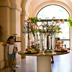 Entry to Hotel de Russie, gorgeous bouquets of flowers everywhere
