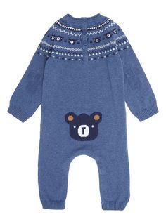 Boys Blue Knitted Romper 0-24 months