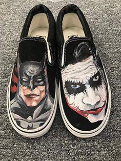 b6998cd5db09a4 Batman Vans Shoes Slip On Sneakers Black Vans Shoes