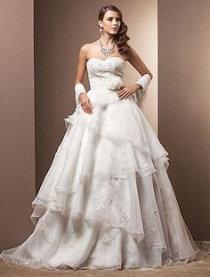 A-line/Princess Sweetheart Court Train Organza Mermaid Wedding Dress