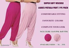 Ethnic Bottomwear - Patiala Pants Fabulous Viscose Women's Patiala Pant Combo Fabric: Viscose  Size: XL - 24 in - 32 in XXL - 26 in - 34 in Length: XL - 40 in XXL - 41 in Type: Stitched Description: It Has 2 Pieces Of Patiala Pants Colour: Rani- Pink Pattern: Solid Country of Origin: India Sizes Available: XL, XXL *Proof of Safe Delivery! Click to know on Safety Standards of Delivery Partners- https://ltl.sh/y_nZrAV3  Catalog Rating: ★4 (458)  Catalog Name: Fabulous Viscose Women's Patiala Pant Combo Vol 17 CatalogID_401240 C74-SC1018 Code: 943-2944404-