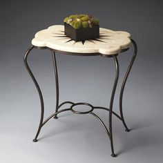 Accent Table - Metalworks - 4089025. Accent Table - Metalworks - 4089025 The curvaceous skinny legs and popup stretcher of the wrought iron base create the perfect foundation for the enchanting gold-and-black design floating like coral in a sea of white fossil s.. . See More Accent Tables at http://www.ourgreatshop.com/Accent-Tables-C691.aspx