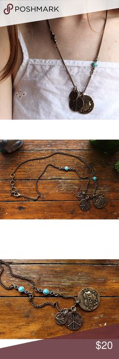 Lucky Brand Peace&Love Charm Necklace Unused Condition // LUCKY Brand! // Hangs mid chest at longest length as shown in image. // Adjustable clasp. // Two sided imagery on charms and adorable backside detailing on beading as shown in image. Lucky Brand Jewelry Necklaces