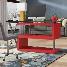 Folden Reversible L-Shape Standing Desk Computer Desk Design, Rolling Table, White Shag Rug, Chic Desk, Home Office Furniture, Furniture Ideas, Open Shelving, Contemporary Style, Space Saving