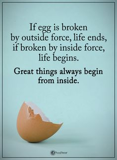 If egg is broken by outside force, life ends, if broken by inside force, life begins. Great things always begin from inside. #powerofpositivity #positivewords #positivethinking #inspirationalquote #motivationalquotes #quotes #life #love #hope #faith #respect #broken #outside #inside #force #begins #positive #great #begin