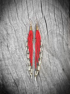 Color Block Fringe Earrings - Shoulder Dusters - Brass, Flame, Gold, Cream, Seed Bead Earrings, Tribal Jewelry, Boho, Artisan, OOAK. $44.00, via Etsy.