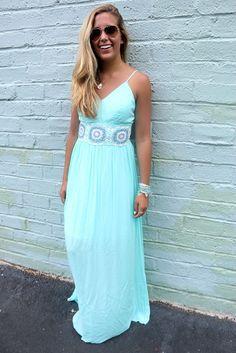 Off The Water Aqua Crochet Waist Maxi Dress
