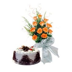 A Half Kg Black Forest Cake and Bunch of 12 Orange Roses make this Gift Hamper an attractive one. Gift this to your loved ones.