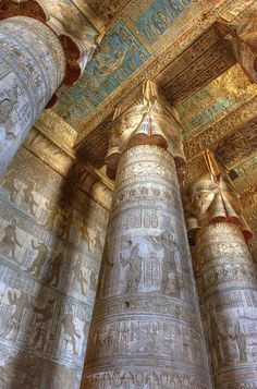 Temple of Hathor Dendara, Egypt the most beautiful complete temple in the Upper Egypt (Qena governerate) 500 Km from Cairo ,It contains also the Cleopatra swimming pool Ancient Architecture, Art And Architecture, Amazing Architecture, Ancient Art, Ancient History, Ancient Greek, Empire Romain, Templer, Egyptian Art