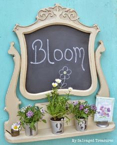 Repurposed dresser mirror frame chalkboard