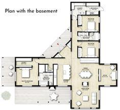 W❤❤❤ House Plans - Truoba Class 115 modern cabin house plan Cabin House Plans, Bedroom House Plans, Dream House Plans, Small House Plans, House Plans With Pool, Modern House Floor Plans, Sims House Plans, Container House Plans, Container House Design