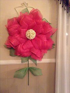 Flower wreath I made using poly burlap mesh.