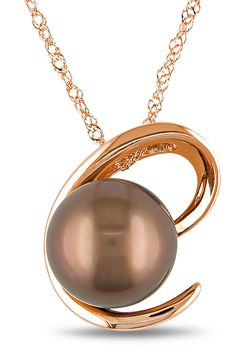 Tahitian Pearl 8.5-9mm Chocolate Tahitian Pearl Pendant In 10k Pink Gold