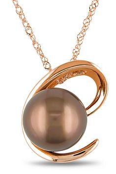 Tahitian Pearl 8.5-9mm Chocolate Tahitian Pearl Pendant In 10k Pink Gold