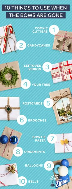 10 things to use when you're out of bows: Now this is super crafty! See how you can use pasta, balloons, cookie cutters, vintage jewels, and maybe even some cuttings from your holiday tree for final touches on holiday gifts! All Things Christmas, Winter Christmas, Christmas Holidays, Christmas Presents, Christmas Bows, Happy Holidays, Christmas Ideas, Holiday Crafts, Holiday Fun