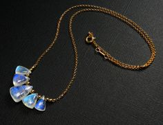 Rainbow Moonstone Briolette & 14k Gold Filled 17 by sitkaeclipse, $79.00