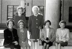 First Ladies Lady Bird Johnson, Pat Nixon, Rosalynn Carter, Betty Ford (front row, left to right), Nancy Reagan, and Barbara Bush (standing, left to right) at the dedication of the Ronald Reagan Presidential Library in November 1991.