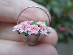 Dollhouse Miniatures Handmade Bouquet Pink Flowers in Silver Basket, Wilhelmina | eBay