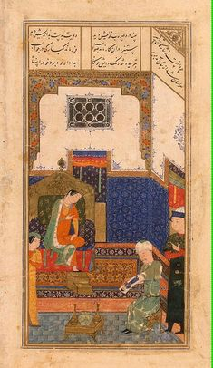 Miniatures, Gouache, 23.7x13.7 cm Origin: Iran, 1431-1431, Timurid Dynasty This is one of the three miniatures illustrating the poem Iskandar-Nameh in the Hermitage's famous Persian manuscript of the Khamsa, an anthology of five poems by the 12th-century poet Nizami, who lived on the territory of present-day Azerbaijan. In 1431 this manuscript of the Khamsa was copied out in Herat by the calligrapher Mahmud for Sultan Shahrukh , son of the legendary Tamerlaine . Iskandar-Nameh, or Book of…
